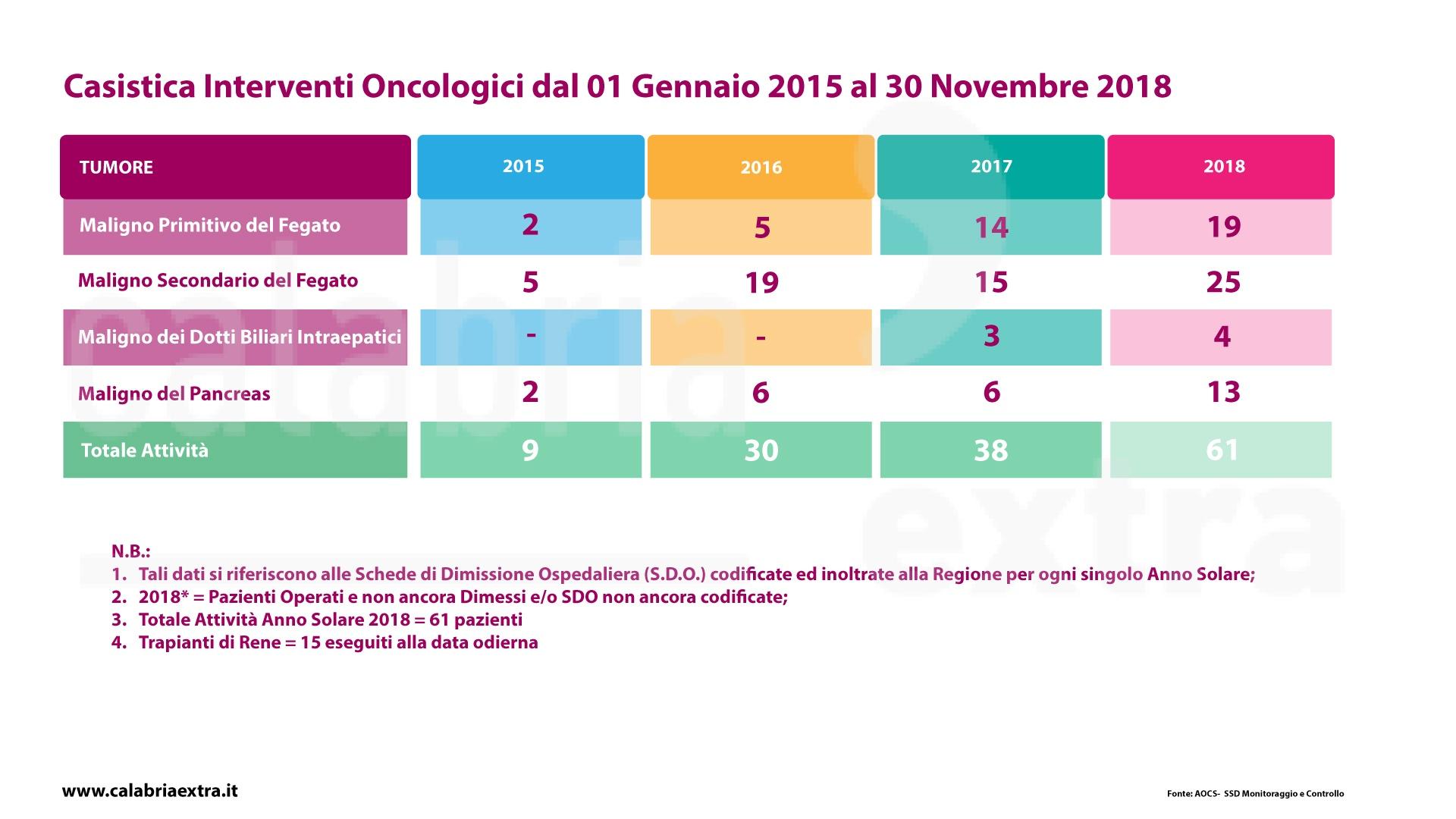 Castistica interventi oncologici Annunziata Cosenza